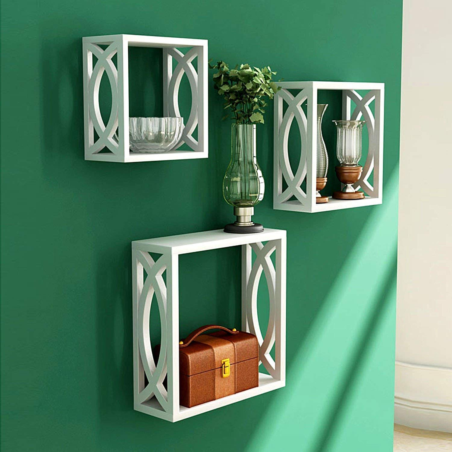 craft a to z Mdf  Wooden Nested Wall Shelf with Jali Work (White) - Set of 3